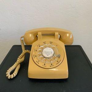 Vintage Mustard Rotary Telephone Boho Retro 70's